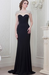 Floor-Length Cap Sleeve Scoop Neck Bowed Chiffon Evening Dress