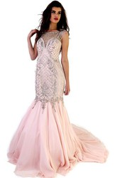 Mermaid Maxi Beaded Cap-Sleeve Jewel-Neck Chiffon Prom Dress