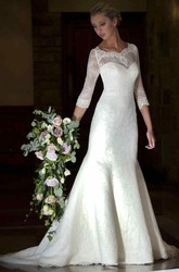 Mermaid 3-4-Sleeve V-Neck Lace Wedding Dress With Illusion