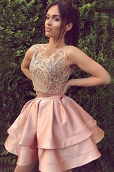 A-line Ball Gown Short Mini Sleeveless Bateau Ruching Ruffles Tiers Satin Lace Homecoming Dress