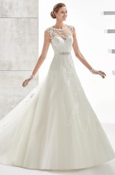 Jewel-neck A-line Wedding Dress With Beaded Belt and Illusive Design