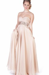 A-Line Criss-Cross Long Sweetheart Sleeveless Evening Dress With Waist Jewellery