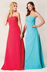 Floor-Length Strapless Ruched Chiffon Bridesmaid Dress With Draping And Lace Up