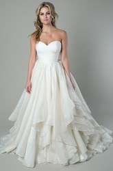 A-Line Draped Floor-Length Sweetheart Organza Wedding Dress With Criss Cross And V Back