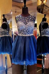 A-Line Princess Scoop Sleeveless Rhinestone Short Mini Tulle Dresses