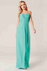 Floor-Length Sheath Strapless Empire Ruched Chiffon Bridesmaid Dress