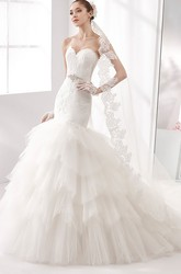 Sweetheart Mermaid Lace Gown With Multilayer Train And Lace-Up Back