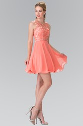 A-Line Short Scoop-Neck Sleeveless Chiffon Dress With Appliques And Waist Jewellery
