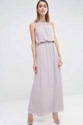 Ankle-Length Sheath Sleeveless Jewel Neck Chiffon Bridesmaid Dress