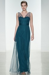 Sheath V-Neck Long-Sleeveless Tulle Bridesmaid Dress With Pleats