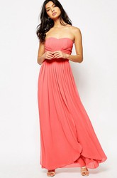 Sheath Ankle-Length Strapless Chiffon Bridesmaid Dress With Pleats And Zipper