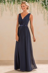 Sleeveless V-Neck A-Line Bridesmaid Dress With Lace Back And Pleats