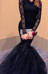 Sexy Black Lace Long Sleeve Prom Dresses 2018 Mermaid Open Back Evening Party Gowns