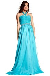 Halter Sleeveless Criss-Cross Chiffon Prom Dress