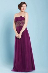 A-Line Strapless Sleeveless Floor-Length Jeweled Tulle Bridesmaid Dress With Ruching