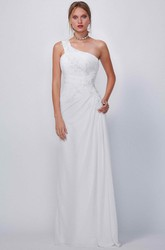 One-Shoulder Long Appliqued Chiffon Wedding Dress With Draping And Corset Back
