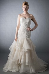 Mermaid Appliqued Sleeveless Sweetheart Tulle Wedding Dress