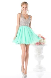 A-Line Short V-Neck Sleeveless Deep-V Back Dress With Ruffles And Beading