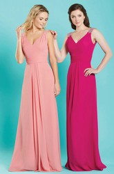 Sheath Sleeveless V-Neck Epaulet Long Chiffon Bridesmaid Dress