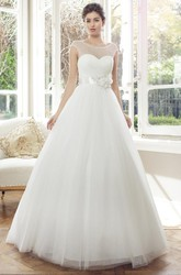 Ball Gown Scoop-Neck Cap-Sleeve Long Tulle Wedding Dress With Flower And V Back