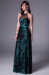 A-Line Sleeveless Floor-Length Scoop-Neck Sequins Prom Dress