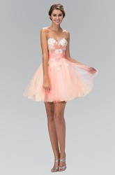 Muti-Color A-Line Short Sweetheart Tulle Satin Lace-Up Dress With Appliques And Beading