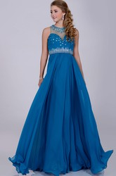 A-Line Chiffon Sleeveless Prom Dress With Rhinestone Neck And Sequined Bust