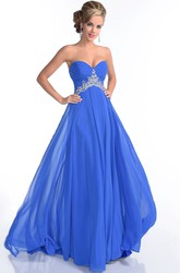 Chiffon Sweetheart Empire A-Line Long Prom Dress With Beadwork
