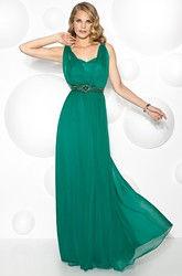V-Neck Jeweled Sleeveless Chiffon Prom Dress With Appliques