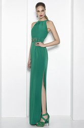 Sheath Floor-Length Split-Front High Neck Sleeveless Jersey Prom Dress