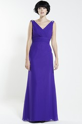 Criss-Cross V-Neck Sleeveless Chiffon Bridesmaid Dress With Beading