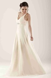 Empire Jeweled Sleeveless V-Neck Chiffon Bridesmaid Dress With Ruching