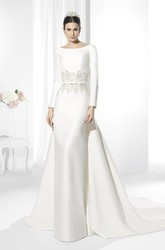 Long Scoop Appliqued Long-Sleeve Satin Wedding Dress With Court Train And V Back