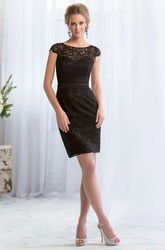 Cap-Sleeved Short Sheath Lace Bridesmaid Dress With Keyhole Back