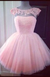 Cute Pink Cap Sleeve Appliques Homecoming Dress Mini Tulle