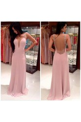 A-line Princess Straps Sleeveless Beading Floor-length Chiffon Dresses