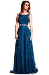 A-Line Sleeveless Long Beaded Prom Dress With Waist Jewellery And Ruching
