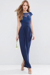 Sheath Cap-Sleeve Maxi Appliqued Bateau-Neck Chiffon Bridesmaid Dress With Split Back