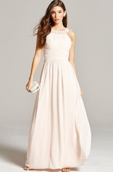 Sleeveless Ruched Scoop Neck Chiffon Bridesmaid Dress With Straps