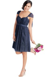 Short Cap Sleeve Sweetheart Ribboned Lace Muti-Color Convertible Bridesmaid Dress With Criss Cross