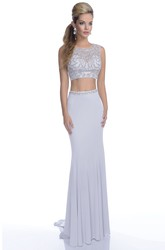 Form-Fitted Crop Top Jersey Sleeveless Prom Dress Featuring Jeweled Bodice
