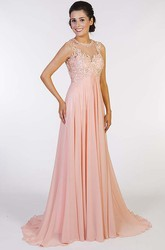 A-Line Sleeveless Beaded High-Neck Floor-Length Chiffon Prom Dress