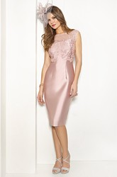 Pencil Knee-Length Appliqued Bateau Neck Sleeveless Satin Mother Of The Bride Dress