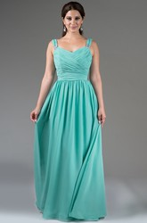 Pleated A-Line Chiffon Long Bridesmaid Dress With Sequin Detailed Straps