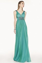 Empire Crystal Waist A-Line Chiffon Long Prom Dress With Cowl Back