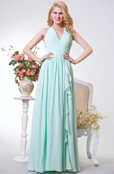 V-neck Ruched A-line Long Chiffon Dress With Illusion Back
