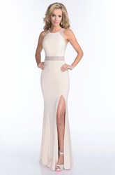 Mermaid Jersey Side Slit Sleeveless Prom Dress With Crystal Embroidery And Illusion Back