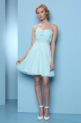 Sweetheart Short Ruched Chiffon Bridesmaid Dress With Embroidery
