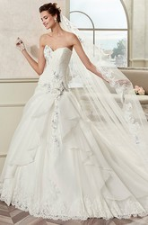 Sweetheart A-Line Bridal Gown With Asymmetrical Ruffles And Fine Appliques