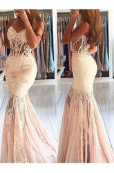 Sleeveless Sweep Brush Train Mermaid Trumpet Sweetheart Lace Tulle Dress